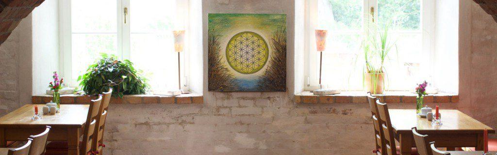 Blume des Lebens Bild als Wandschmuck im Restaurant