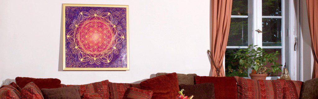Blume des Lebens als dekoratives Bild im Wohnzimmer