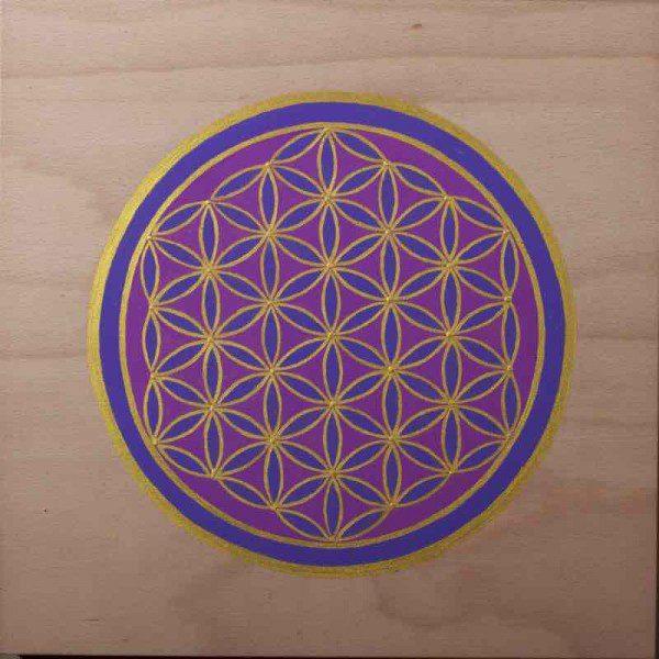 Energiebild - Blume des Lebens - Violette Holzblume