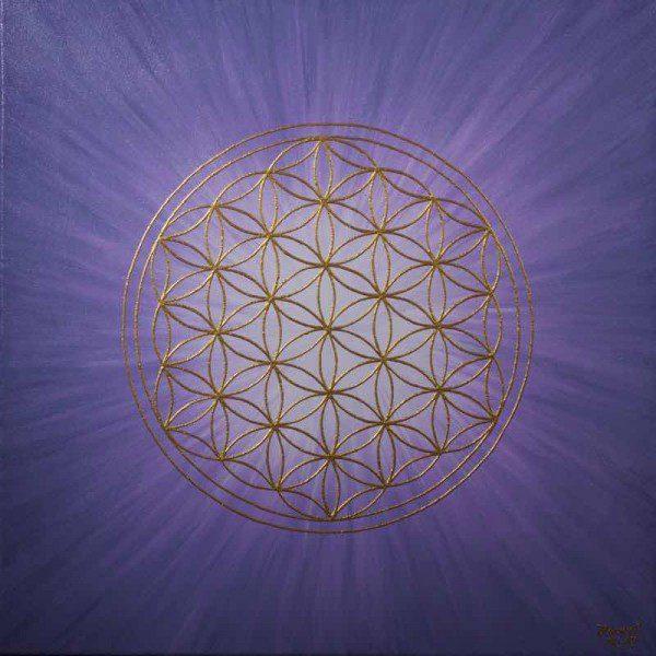 Energiebild - Blume des Lebens: Strahlenblume Lavendel
