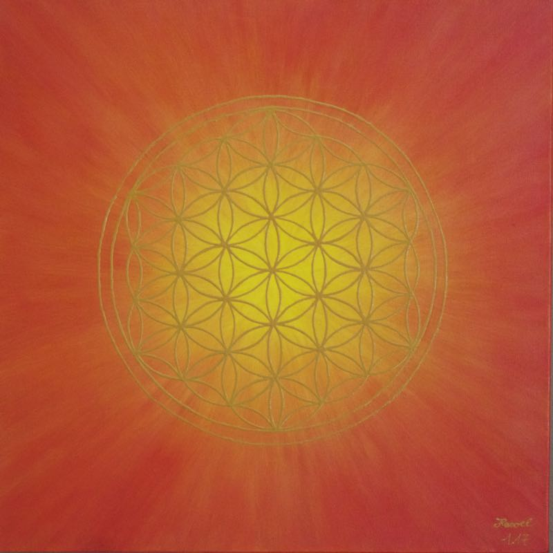 Energiebild - Blume des Lebens: Strahlenblume Rot - Gelb, 50 x 50 cm