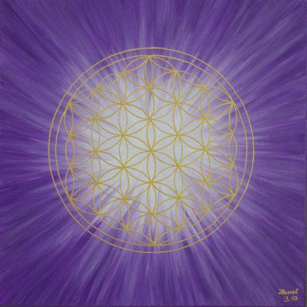 Energiebild - Blume des Lebens: Strahlenblume Violett