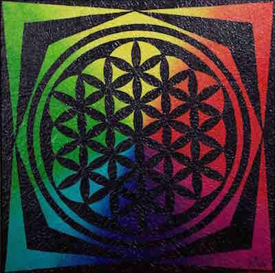 Die Blume des Lebens in leuchtenden Farben