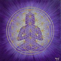 Energiebild: Violett leuchtender Buddha