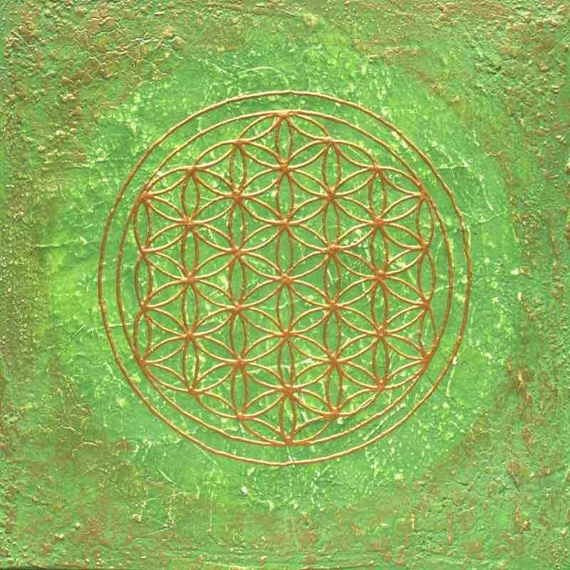 Energiebild: Herz-Chakra Blume des Lebens