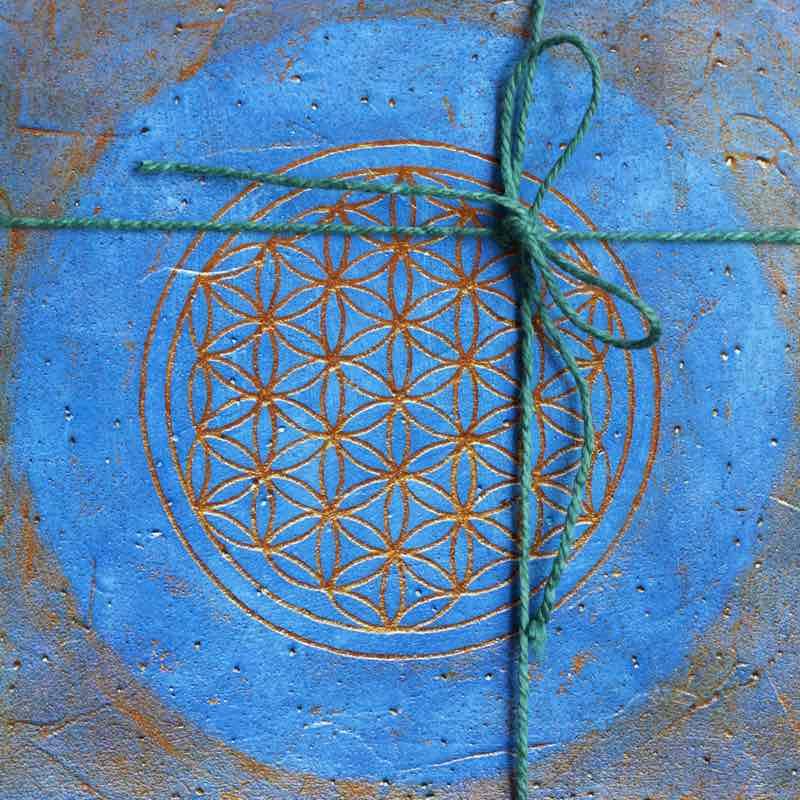 Postkartenset die Blume des Lebens in den Chakrenfarben