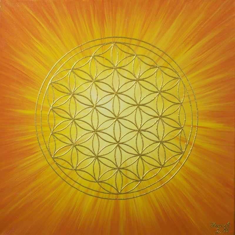 Blume des Lebens Bild - Auftragsarbeit: Strahlenblume Orange-Gelb