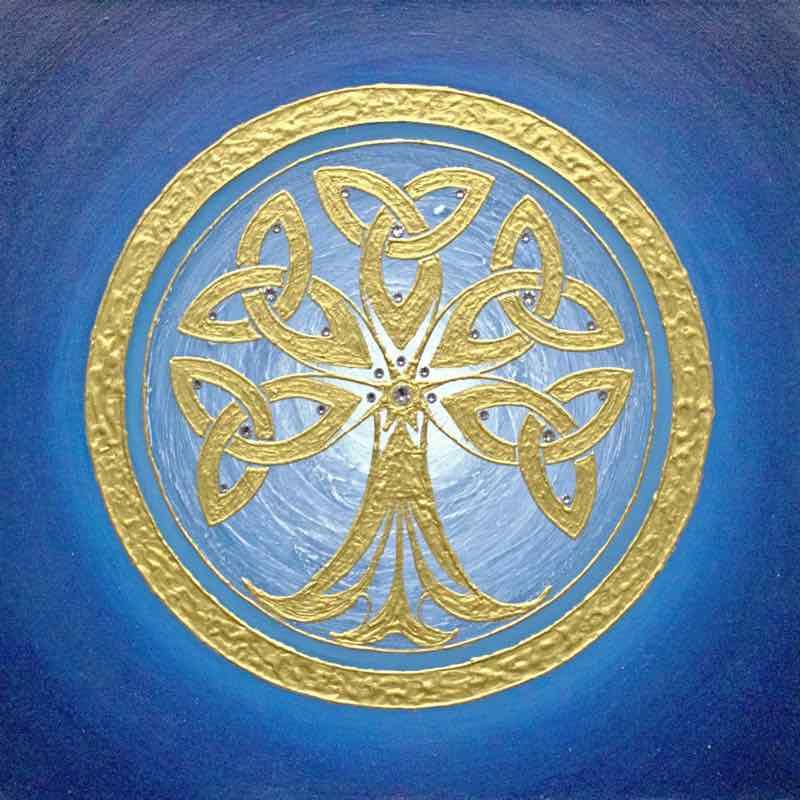 Tree of Life, Blau - handgemaltes Energiebild