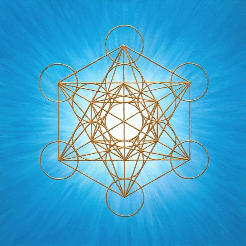 handgemaltes Energiebild: Blauer Metatrons Würfel