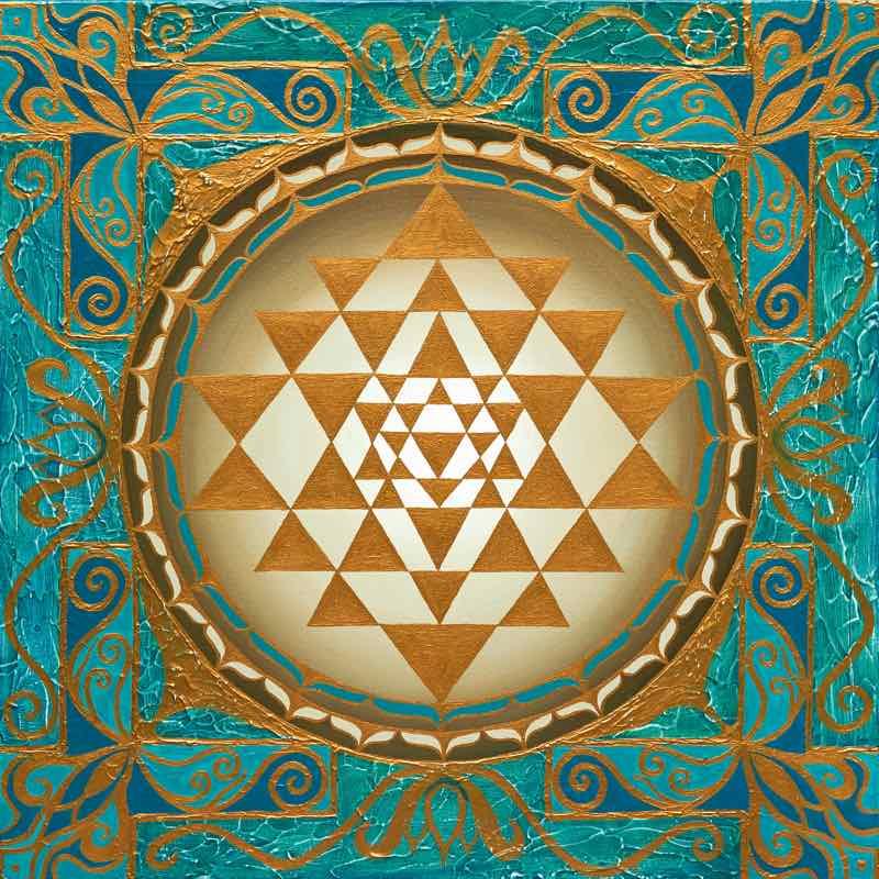 Das Sri Yantra Energiebild leuchtet in goldenen Farben
