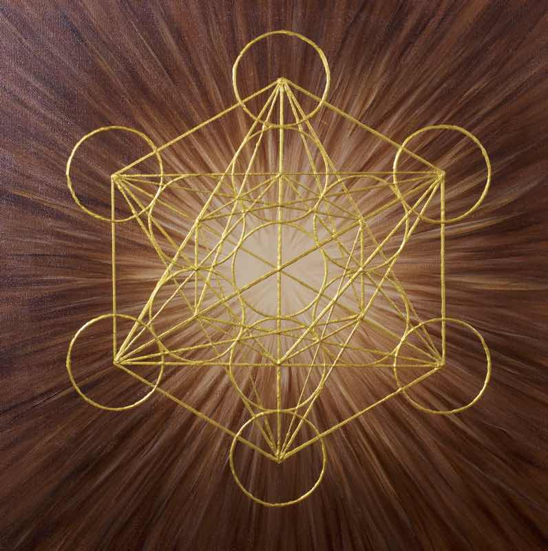 handgemaltes Energiebild: Brauner Würfel des Metatron