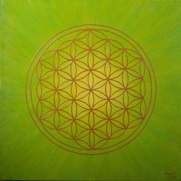Energiebild - Blume des Lebens Bild: Strahlenblume, Grün -Gelb