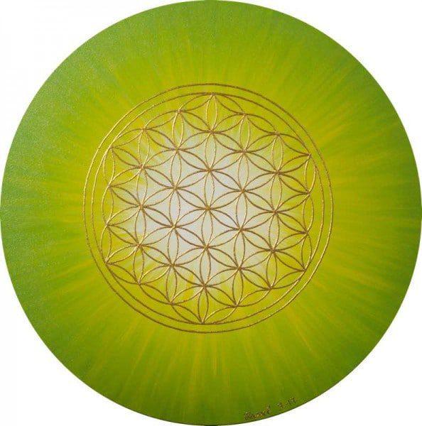 Energiebild - Blume des Lebens: Strahlenblume Grün - Gelb