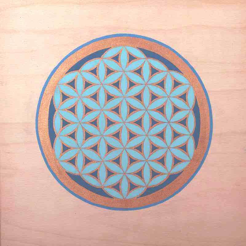 Energiebild - Blume des Lebens Bild - Holzblume Bronze - Türkis
