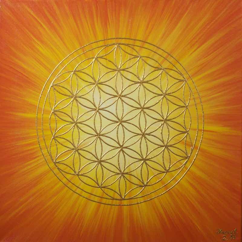 Energiebild - Blume des Lebens: Strahlenblume Orange-Gelb