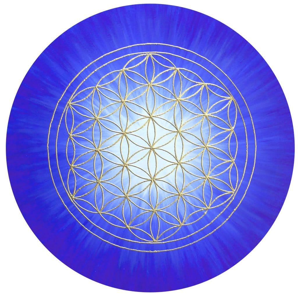 Energiebild - Blume des Lebens: Strahlenblume Blau