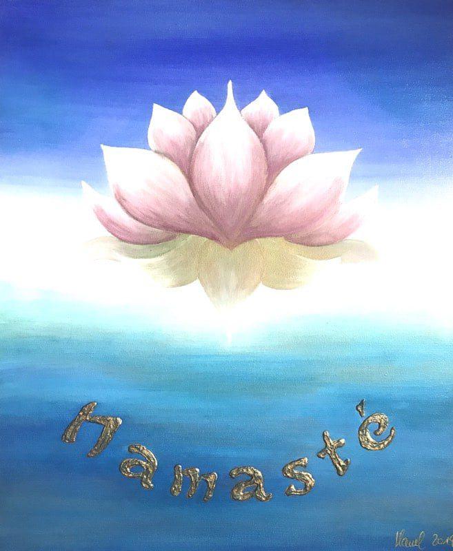 Lotusblüte Namasté, 60 x 50 cm - handgemaltes Energiebild