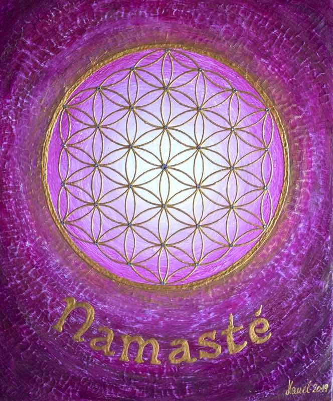 Auftragsbild Namasté Pink - handgemaltes Energiebild