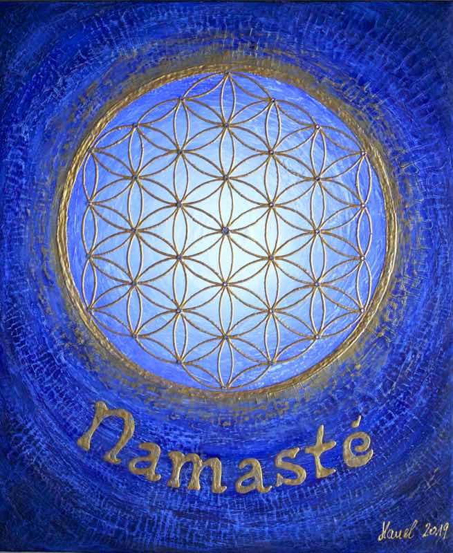 Auftragsbild Namasté Blau - handgemaltes Energiebild