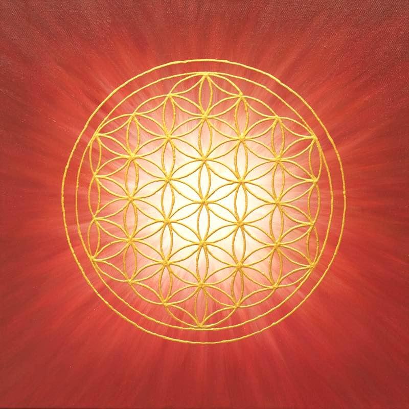Auftragsbild Rote Strahlenblume - handgemaltes Energiebild