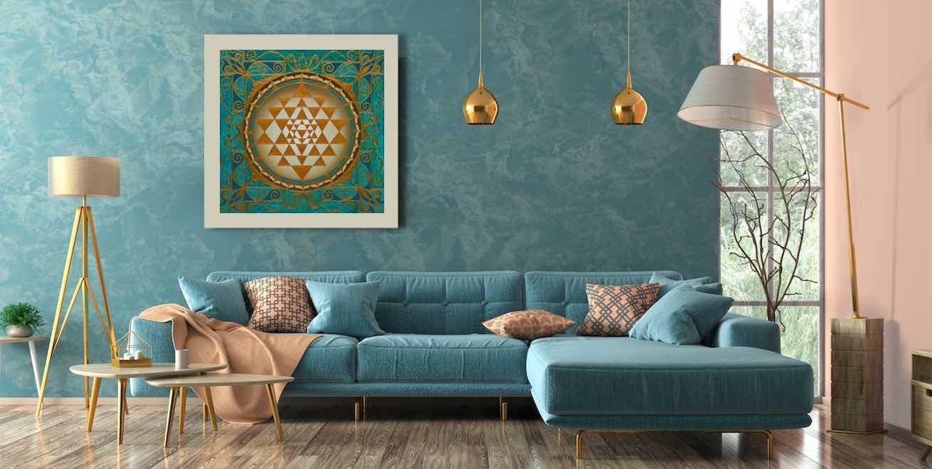Sri Yantra Energield im Wohnzimmer