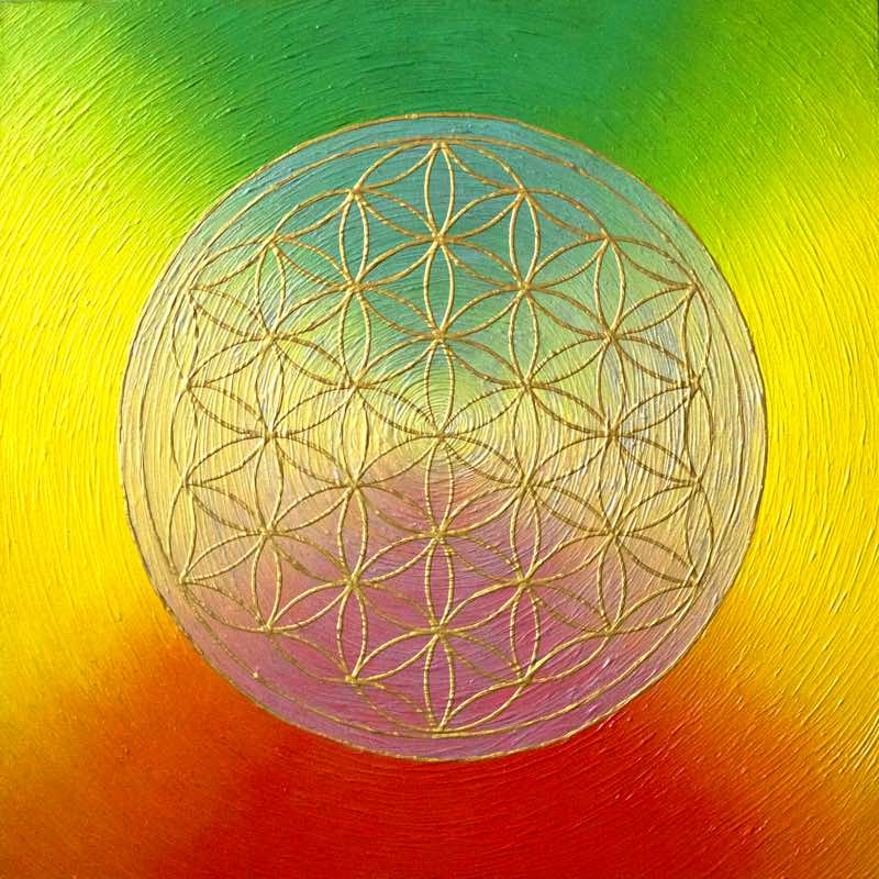 Blume des Lebens Regenbogen, 60 x 60 cm - handgemaltes Energiebild