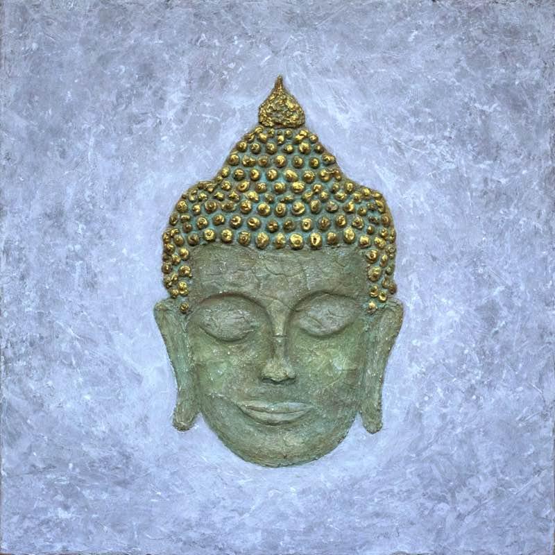 Meditierender Buddha als Leinwandbild: Freedom on Earth 40 x 40 cm