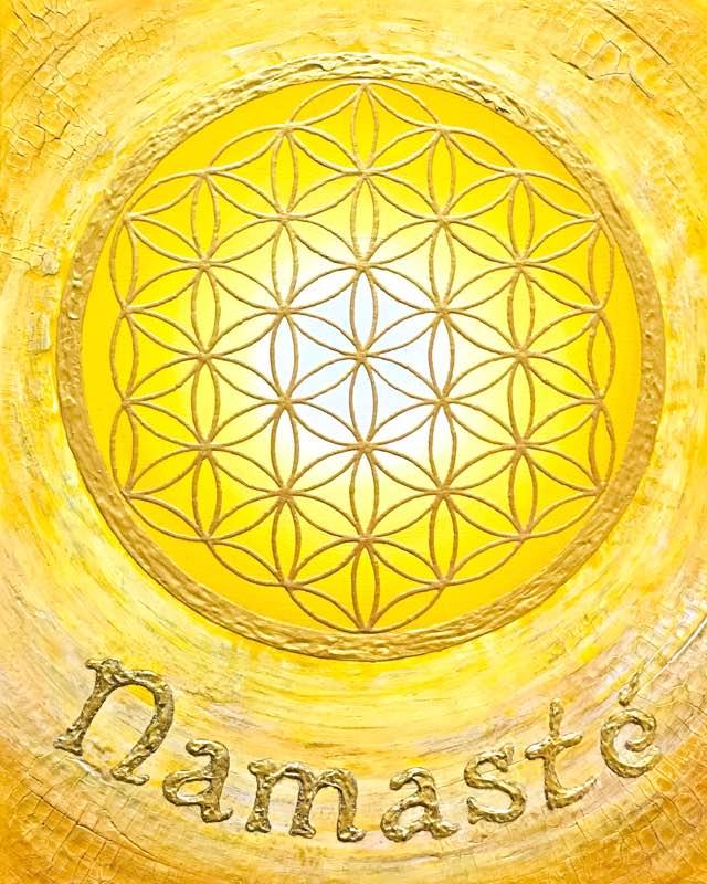 Auftragsbild Namasté Gelb - handgemaltes Energiebild