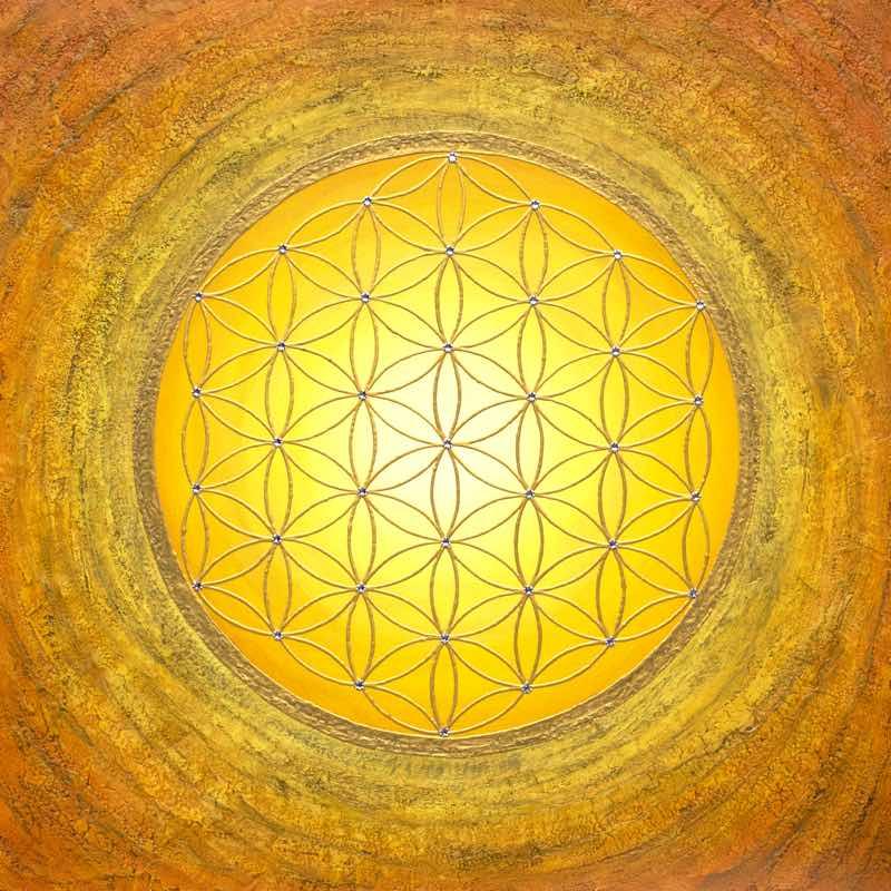 Auftragsbild Gelbe Blume des Lebens - handgemaltes Energiebild