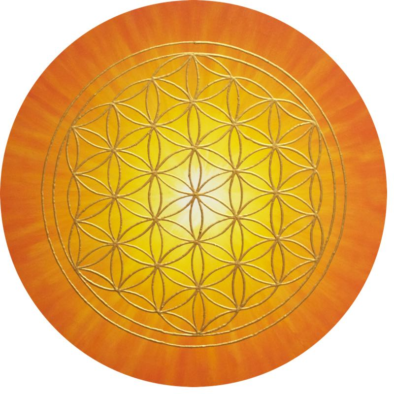 Blume des Lebens Bild - Strahlenblume Orange-Gelb rund