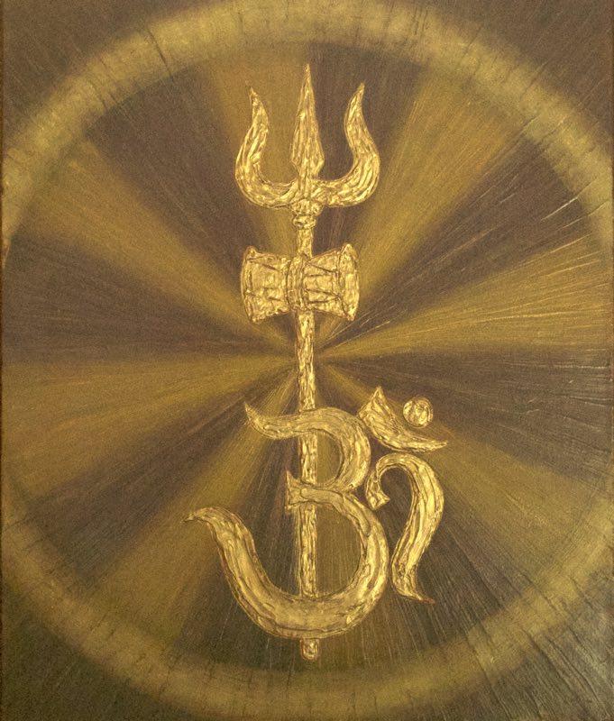 handgemaltes Energiebild in Gelb und Aubergine-Baun mit Shivas Dreizack in Gold