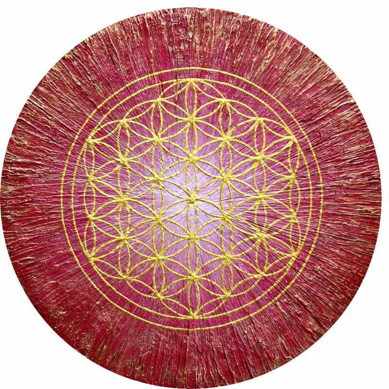 handgemaltes Energiebild Rot und Gold mit der Blume des Lebens
