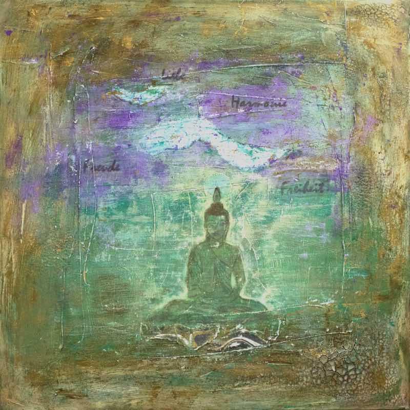 handgemaltes Energiebild: Flying Buddha