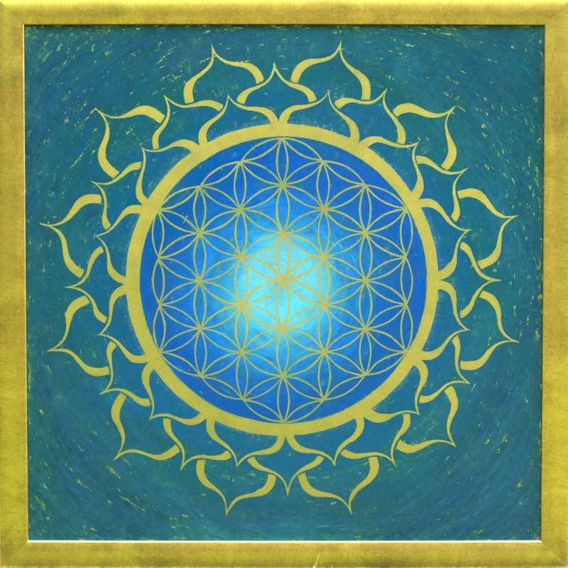 handgemaltes Energiebild in Blau-Türkis mit der Blume des Lebens