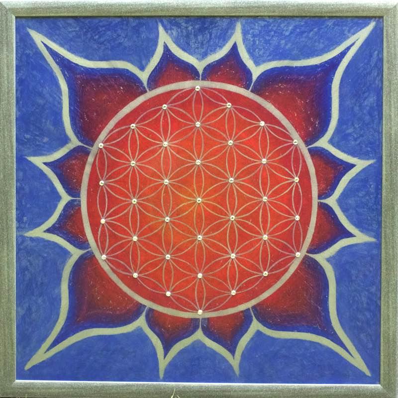 handgemaltes Energiebild Rot, Blau und Gold mit der Blume des Lebens