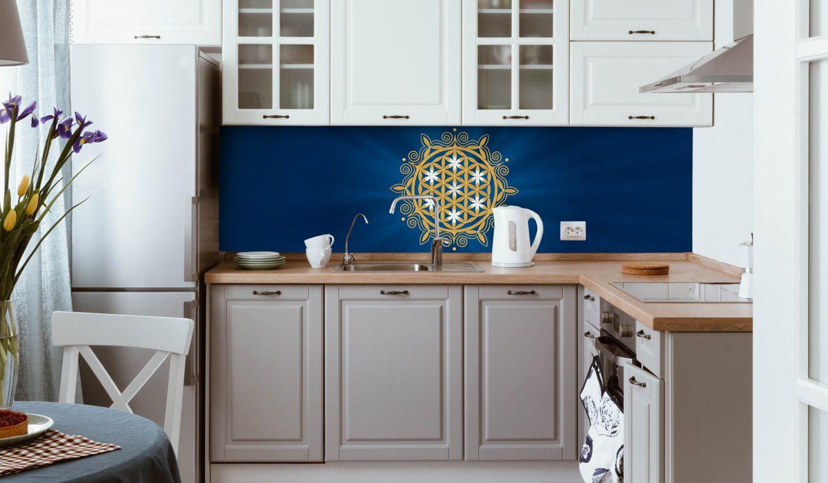 Blume des Lebens mit blauem Hintergrund als Motiv für Deine Küchenrückwand