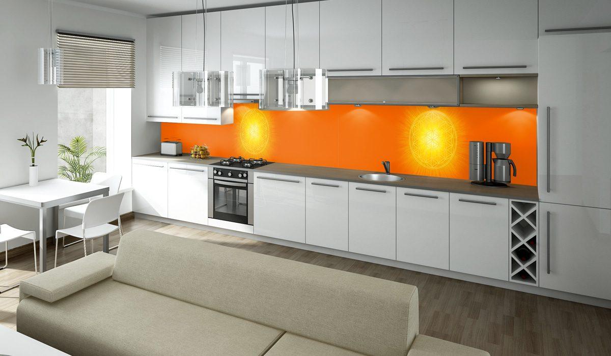 Blume des Lebens mit orangefarbenen Hintergrund als Motiv für Deine Küchenrückwand