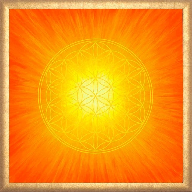 Poster - Blume des Lebens - Strahlenblume Orange gerahmt