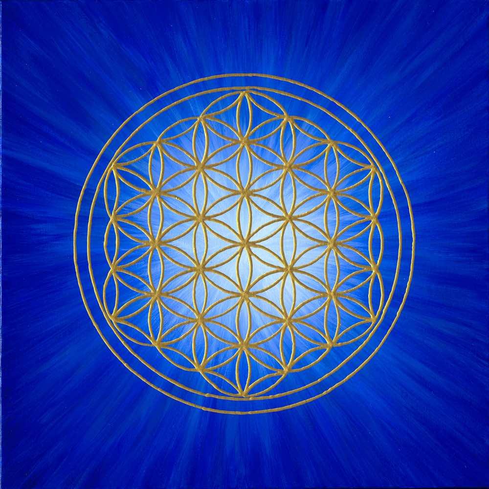 Leinwanddruck - Blume des Lebens - Strahlenblume Blau