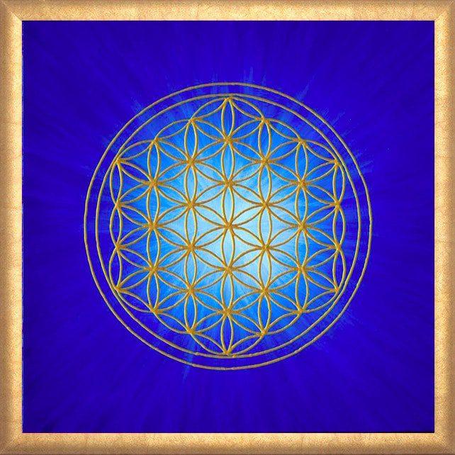 Poster - Blume des Lebens - Strahlenblume Blau gerahmt