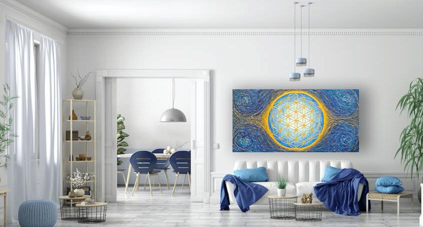 Die Blume des Lebens als dekoratives und kraftvolles Wandbild
