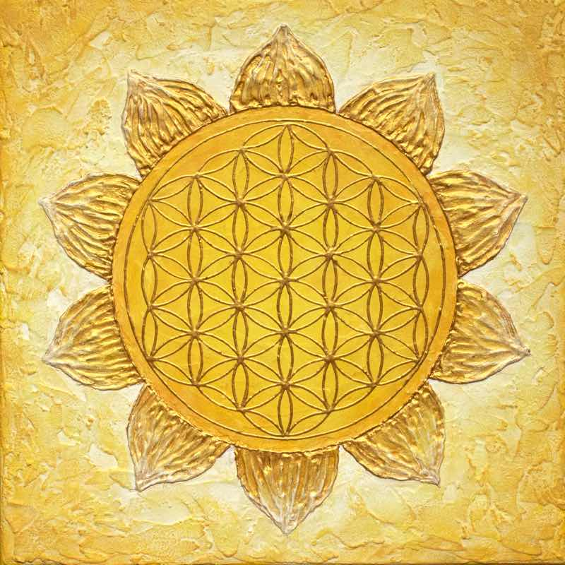 Energiebild Blume des Lebens 7 Chakren - Solarplexuschakra
