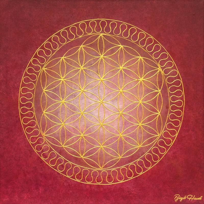 Auftragsbild Innere Ruhe mit der goldenen Blume des Lebens