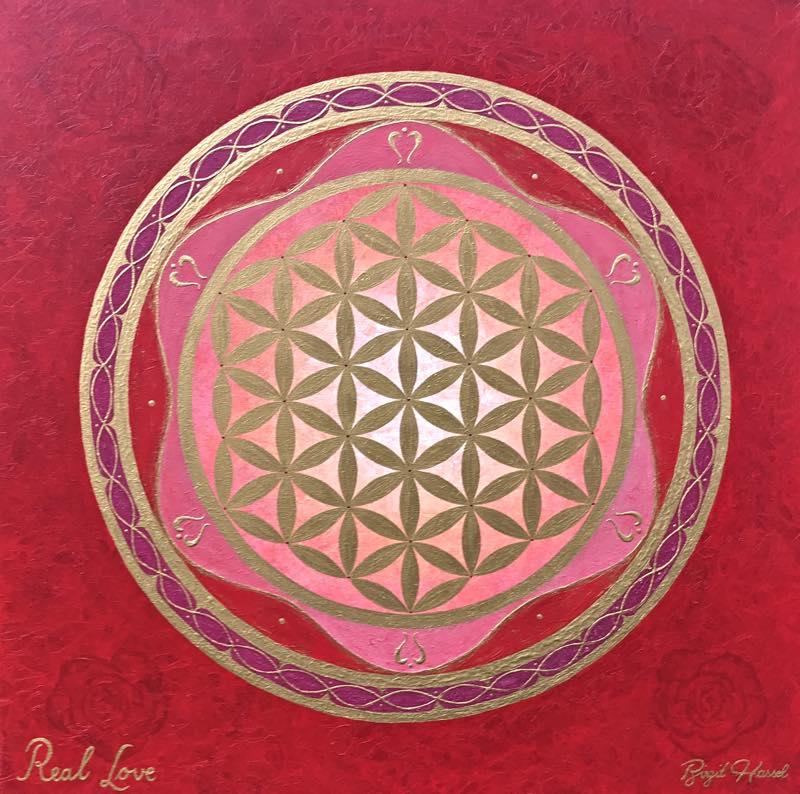 Auftragsbild Real Love mit der goldenen Blume des Lebens