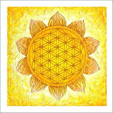 Poster Blume des Lebens Gelb