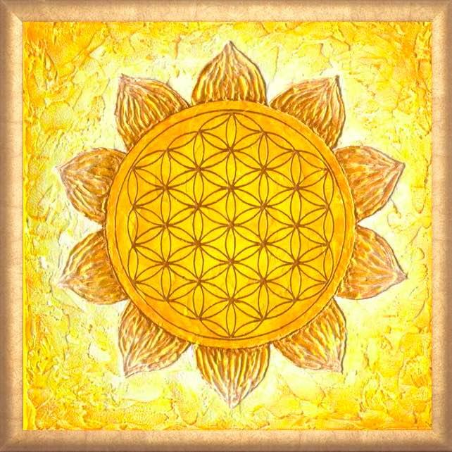 Poster Blume des Lebens Gelb mit Rahmen