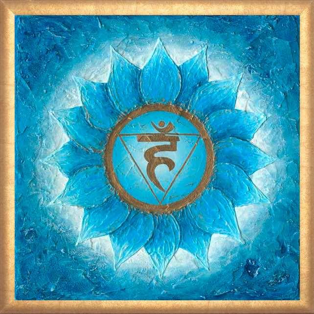 Poster Halschakra Ausdruck der Seele mit Rahmen